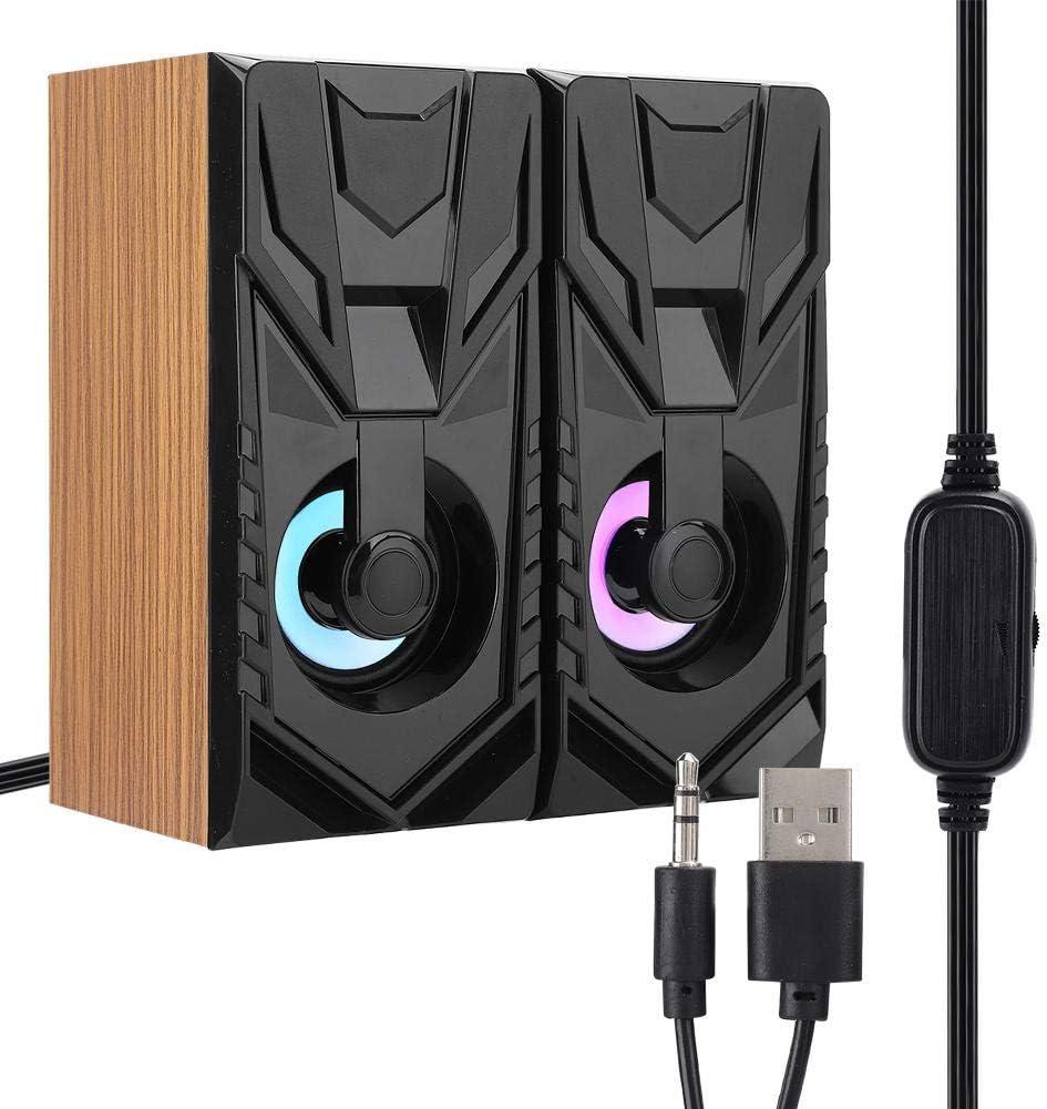 Zopsc USB Portable Loudspeaker Woodiness Speaker for Computer Desktop Laptop Soundbox 2.0 Multimedia Table Small Speaker