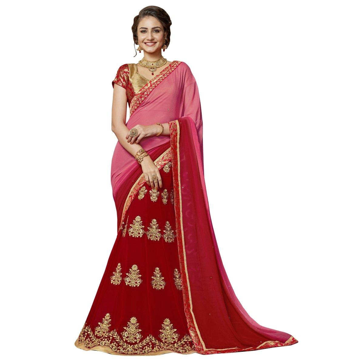Aksaa Fashions Chiffon Pink Festival Wear Embroidered Half n Half Lehenga Saree AKTSNDV8601US