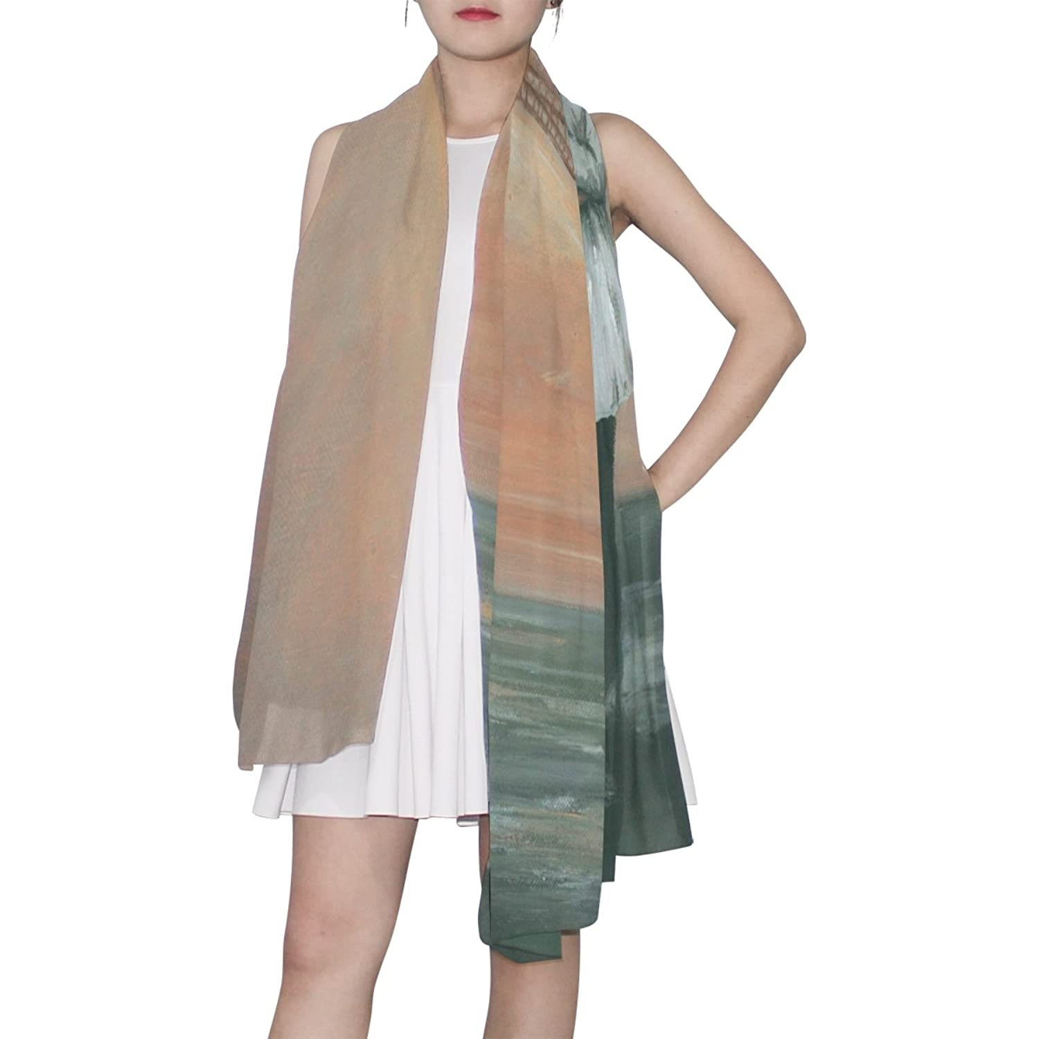 WDYSECRET City Of Romantic Silk Printing Scarves for Women 70.86x35.4(in)