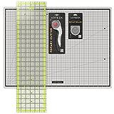 """Rotary Cutter Quilting Kit, Set of 4 (6.5X24"""" Ruler, 18X24"""" Mat, 45mm Cutter, 45mm Blades 3 pack )"""
