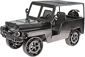 HSOMiD Collectible Handmade Modern Car Metal Sculpture Figurines Décor Home/Office Destop Accessory (Sliver)