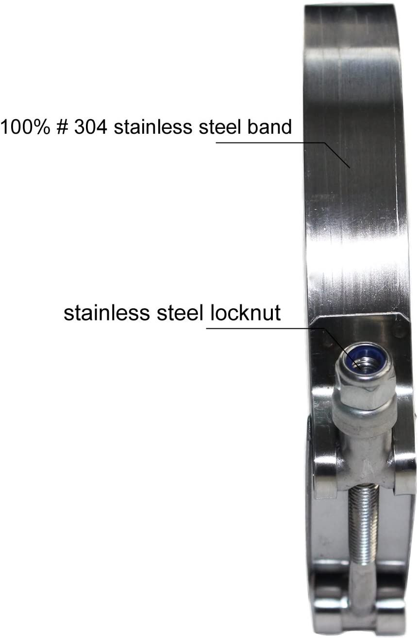 51~59mm, 2 Pack Ronteix Full 304 Stainless Steel Adjustable Hose Clamp Lock Nut T-Bolt Clamps for 1-3//4 Hose