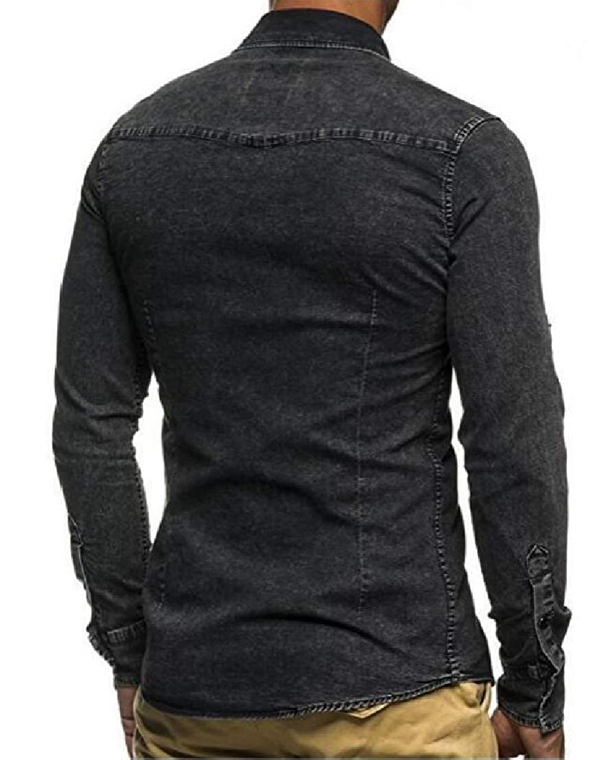 UUYUK Men Long Sleeve Pockets Casual Slim Fit Washed Distressed Denim Western Shirt