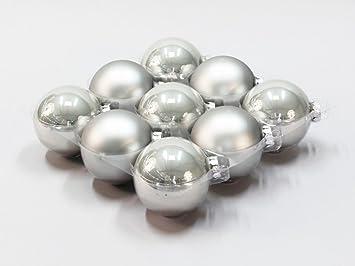 Christbaumkugeln Silber Matt.9x Glas Christbaumkugeln 10cm Hell Grau Silber Glanz Matt