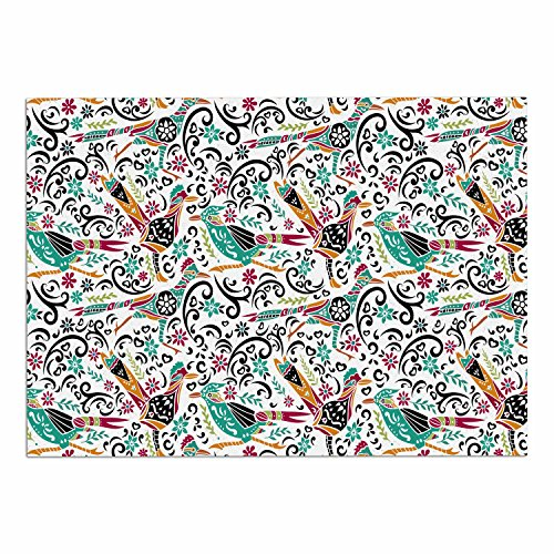 """KESS InHouse Pom Graphic Design """"Happy Feathers"""" Teal Gold Tribal Illustration Dog Place Mat, 24"""" x 15"""" cheap"""
