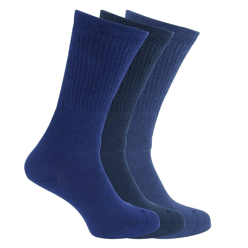 3x Pairs of Men's EXTRA WIDE Diabetic BIG FOOT Socks with Hand Linked Toe Seam / UK 11-14 Eur 45-49