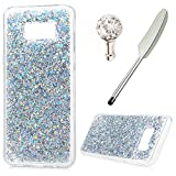 For Samsung Galaxy S8 Plus Case,Badalink Shiny Glitter Bling Soft Flexible TPU Gel Rubber Silicone Clear Cover Ultra Slim Bumper Protective Case Cover with 1 Dust Plug & 1 Stylus for Samsung Galaxy S8 Plus,Sil