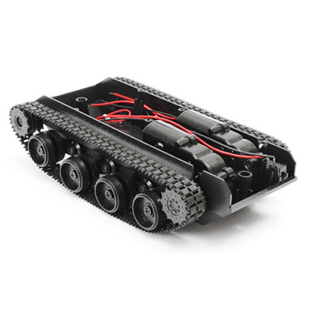 [Robot Tank Car Chassis] Smart Robot Tank Car Chassis Kit Rubber Track Crawler for Arduino 130 Motor (Black, A)