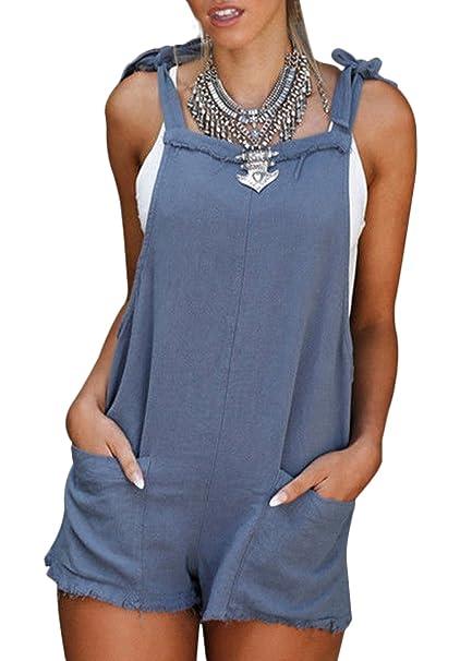 41d93d2306 Amazon.com  Women s Casual Straps Overalls Shorts Pants Romper Outfits Linen  Cotton Pockets Jumpers Suit  Clothing