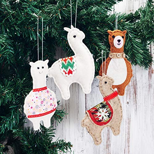 (EDLDECCO Christmas Tree Decoration Llama Alpaca Pendants Set Handy Craft Hanging Ornaments Party Favors Pack of)