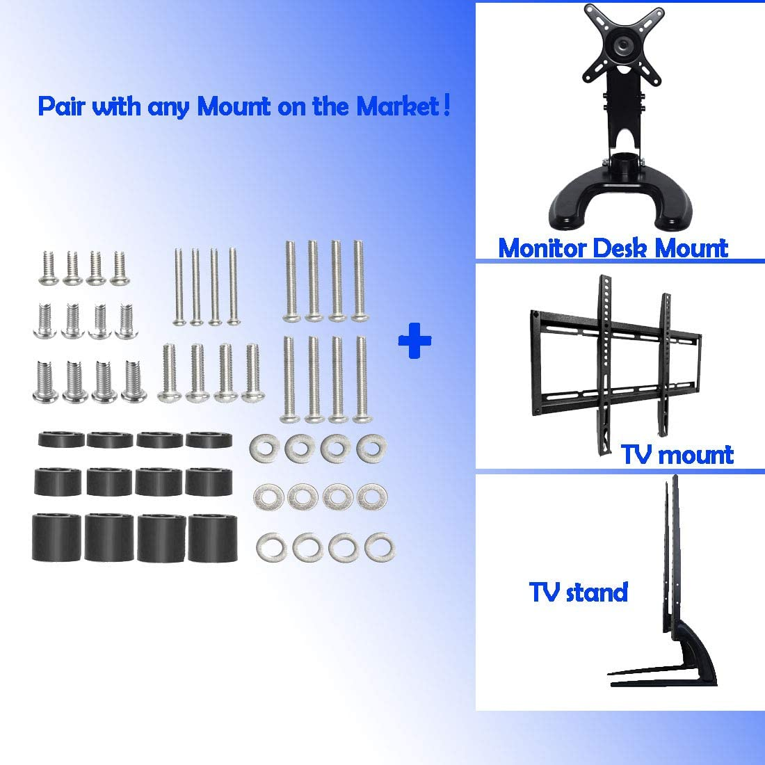 Universal TV Mounting Hardware Kit, Including Screws(M4 M5 M6), Washers, Gaskets,TV Mounting Hardware, for TV and Monitor Installation Wall Mount Hardware Kit can Install All TVs