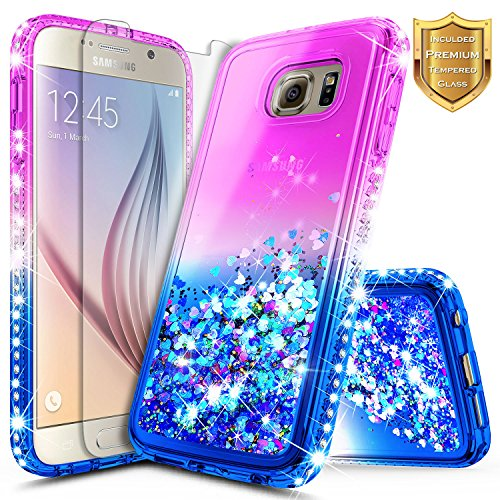 Note 5 Case, Galaxy Note 5 Glitter Case w/[Tempered Glass Screen Protector], NageBee Liquid Quicksand Waterfall Flowing Sparkle Bling Diamond Cute Case Designed for Samsung Galaxy Note 5 -Purple/Blue