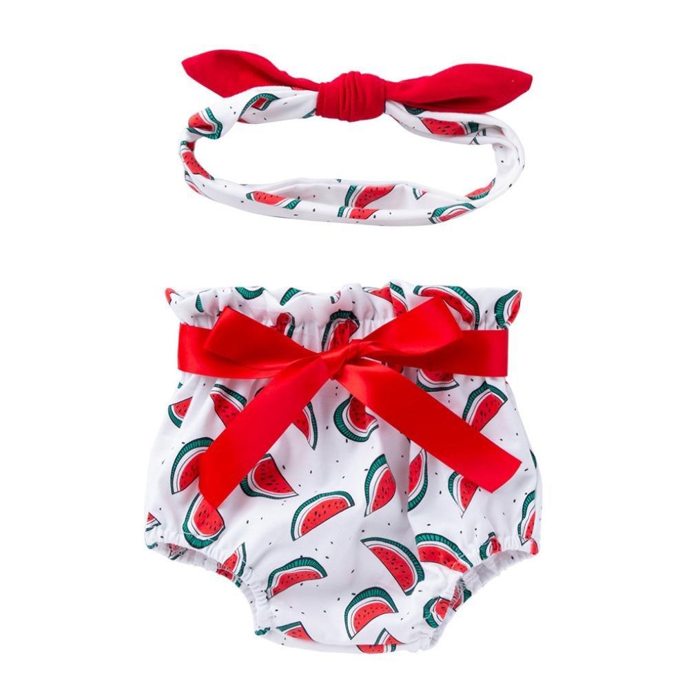 kaiCran Girls Sets,Summer Toddler Baby Infant Girl Bowknot Ruffle Bloomer Nappy Print Underwear Panty Diaper