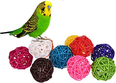 10 Bolas De Ratán Juguete Para Pájaros Como Loros Pericos Periquitos Agapornis Cacatúas Cotorras Pinzones Guacamayos Cacatúa Africana Gris Color Al Azar Amazon Es Productos Para Mascotas