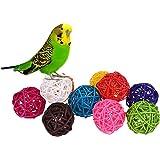 100Rattan Kugeln Vogel Spielzeug DIY Zubehör Spielzeug für Papageien Sittiche Nymphensittiche Sittiche Unzertrennliche Finch Aras Graupapageien Kakadus Amazon Käfig Teil zufällige Farbe