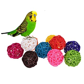 10pcs Rattan Ball Bird Toy Diy Accessory Toy For Parrot Budgie Parakeet Cockatiel Conure Lovebird Macaw African Grey Cockatoo Amazon Cage Part Random