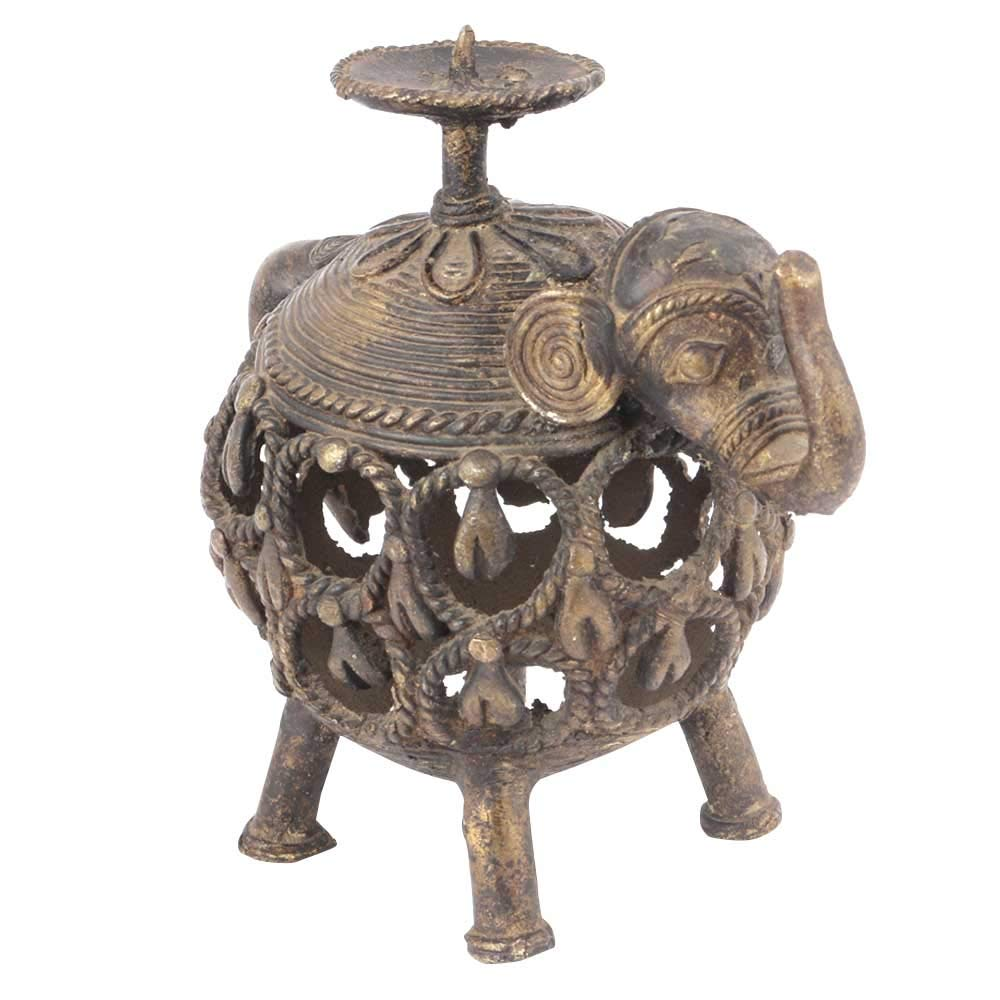 Indian Shelf Handmade Antique Gold Tribal Brass Jali Elephant Candle Holder Puja/Home/Christmas/Diwali Décoration-1 Piece