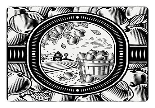 Lunarable Apple Pet Mat for Food and Water, Apple Harvest Agriculture Theme Barn House Village Rural Farm Field Ripe Fruits, Rectangle Non-Slip Rubber Mat for Dogs and Cats, Black (Village Fruit Bowl)