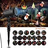 Christmas Projector Lights Outdoor, 12W Waterproof Rotating Landscape Spotlight with 32.8ft Cable, 20pcs Patterns, Timer Function, Speed/Flash Control for Festive Holiday Decoration