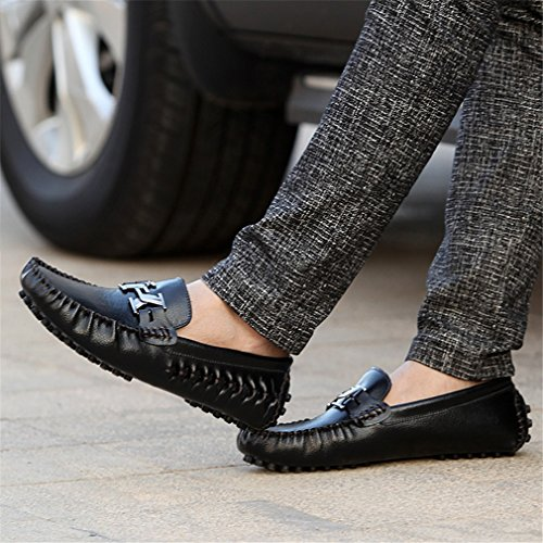Zapatos de de Black genuino de Zapatos de conducción Slipon Alpargatas hombre hombre cuero de Mocasines Bridfa Men lujo azul Loafers w5q0nY