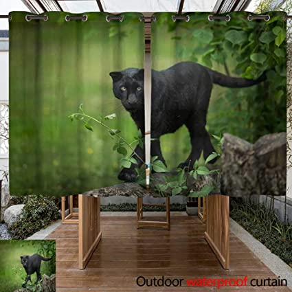 Amazon Com Winfreydecor Outdoor Curtain For Patio Panthere Noir