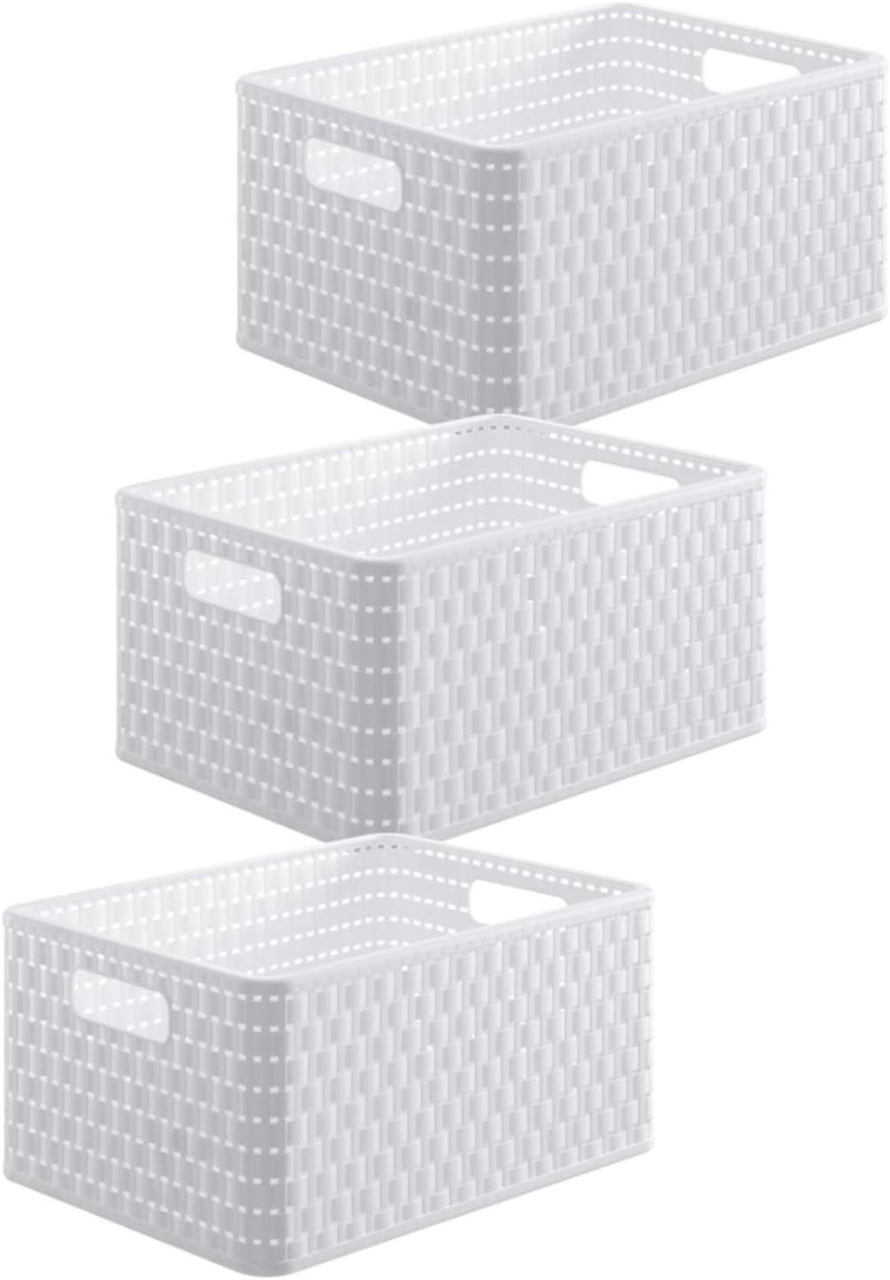 Rotho Country Juego de 3 Cajas de Almacenamiento, Plástico (PP), Blanco, A5 / 6 Liter (28 X 18,8 x 12,6 cm)