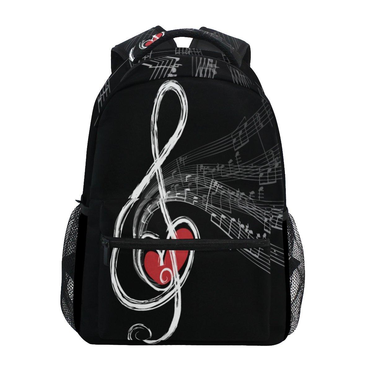 TropicalLife Valentines Love Heart Music Notes Backpacks School Bookbag Shoulder Backpack Hiking Travel Daypack Casual Bags