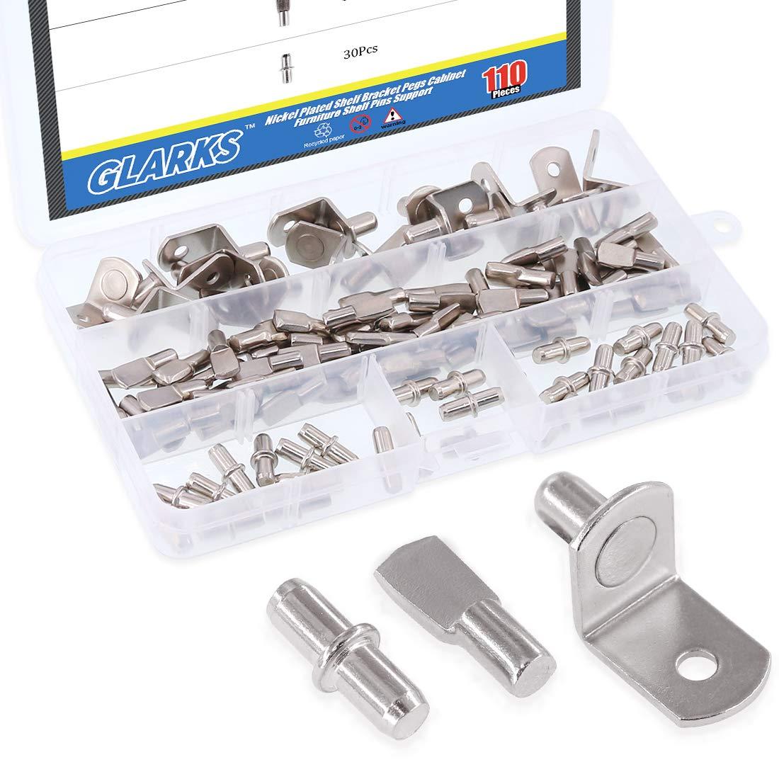 Glarks 110-Pieces Nickel Plated Shelf Bracket Pegs Cabinet Furniture Shelf Pins Support 3 Styles - Silver