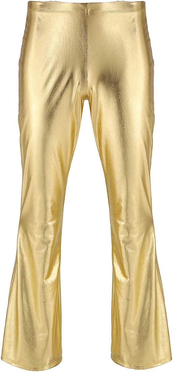 IEFIEL Pantalones Largos Cuero Hombre Pantalones Brillo Metálico Pantalón Campana de Moda Disco Club Fiesta Elástica Retro Pantalones de Pierna Ancha