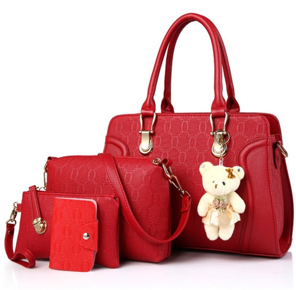 XMCOWAYOU Women Bags Set 4 Pieces with Lovely Cute Bear Doll BB04209