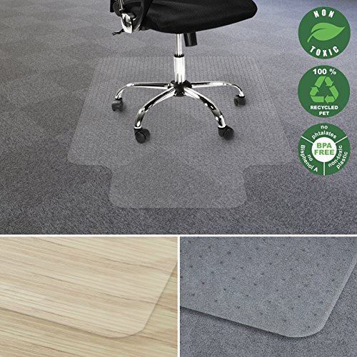 Under Carpet Mat - Office Marshal Chair Mat for Carpet with Lip | Eco-Friendly Series Chair Floor Protector | 100% Recycled (PET) Floor Mat for Office or Home Use | Multiple Sizes | Translucent - 36'' x 48''