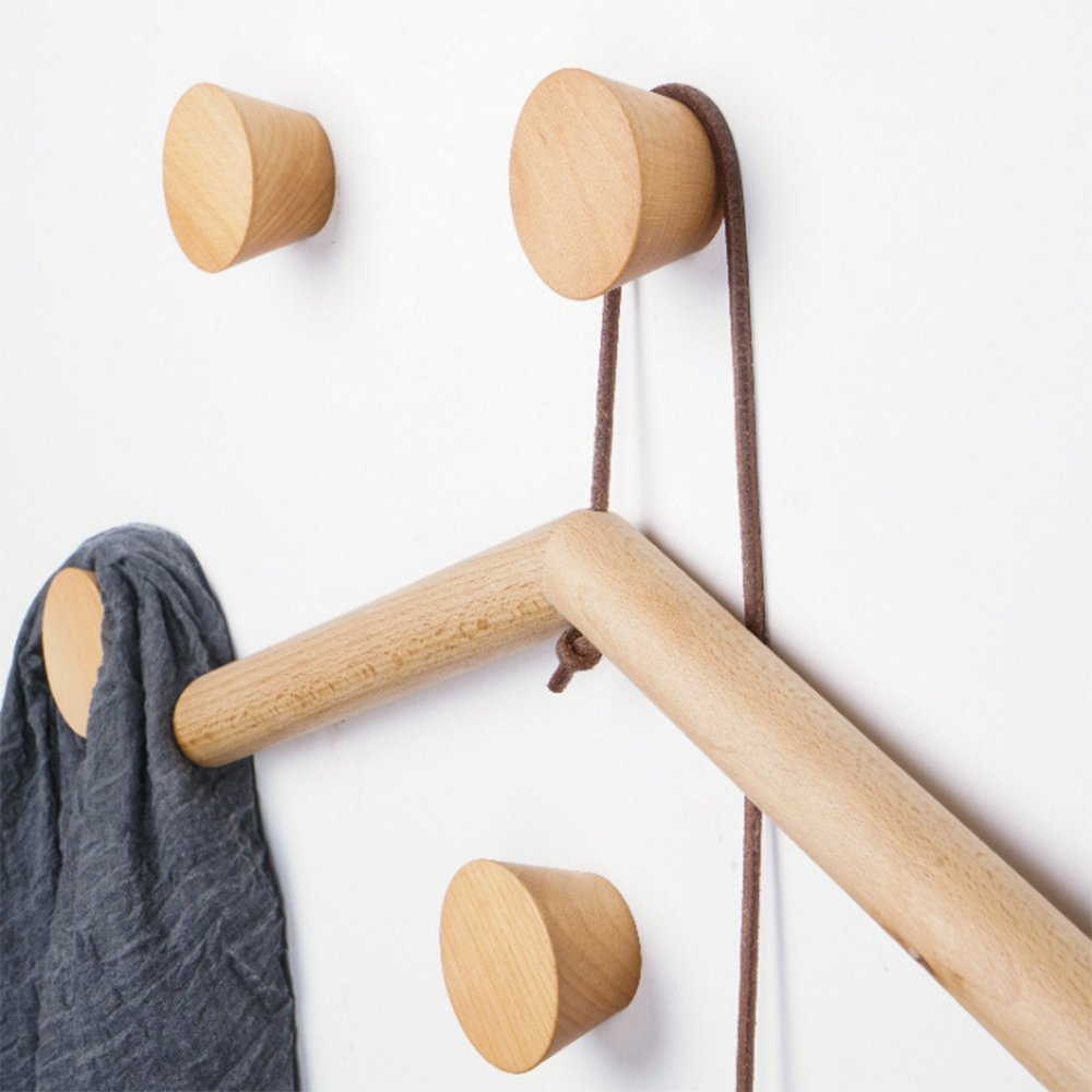 2Pcs Natural Wooden Coat Hooks, Wall Mounted Single Cone Wall Hook Rack, Decorative Craft Clothes Hooks (Beech Wood) by Sichou-Room (Image #8)