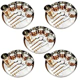 Set of 5 - Prisha India Craft Dinnerware Copper Dinner Set Thali Plate, Bowls, fork, Glass Spoon and Serving Spoon, Dia 13 Inch - CHRISTMAS Gifts - Stainless Steel Copper Thali Set