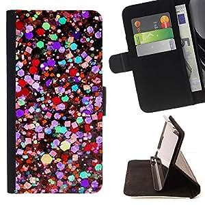 For HTC One M9 Case , Colores vibrantes del trullo púrpura Rojo- la tarjeta de Crédito Slots PU Funda de cuero Monedero caso cubierta de piel