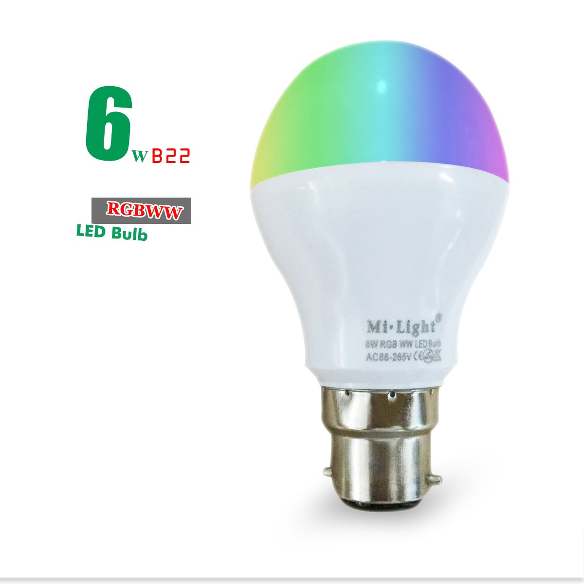 mi-light調光機能付きLED電球RGB + CCT LEDスポットライトスマートLEDランプ 6W E22 RGBWW B01LAZLVTW 15029   6W E22 RGBWW
