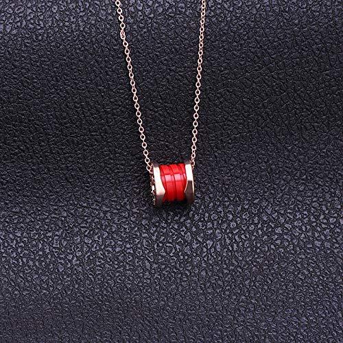 dies Necklaces, Ladies Vintage Ceramic Pendant Titanium Steel Clavicle Chain Necklace-Gold Chain Red ()