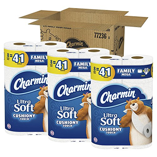Charmin Ultra Soft Toilet Paper, Family Mega Roll with Cushiony Touch (5x More Sheets, 24 Count (1 BOX)