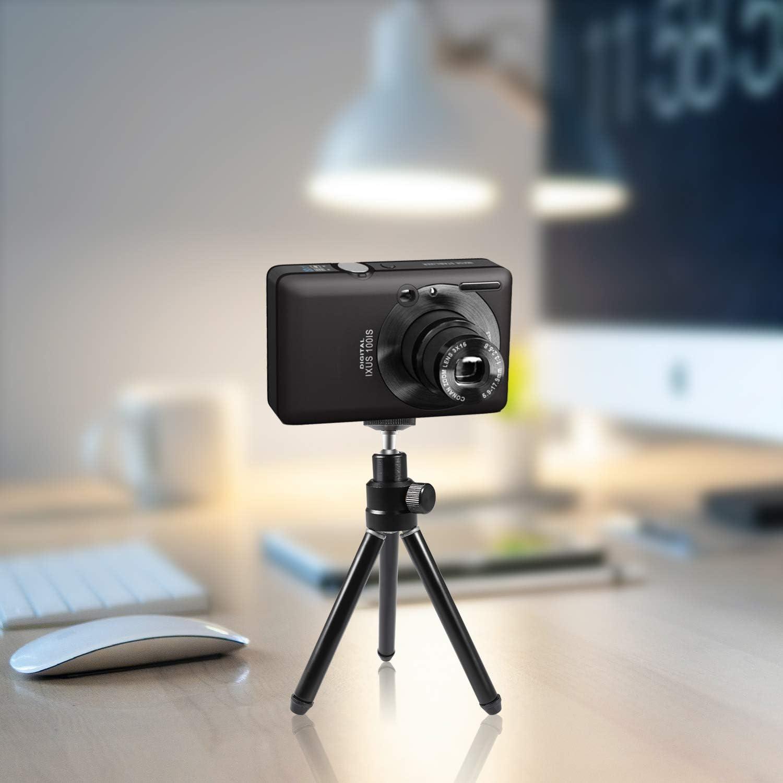 non reflex num/ériques Mini tr/épied l/éger Papalook portable et r/églable en aluminium avec panorama /à 360/° et vis de montage de 6,35 mm pour webcam//Gopro//petits appareils photo num/ériques
