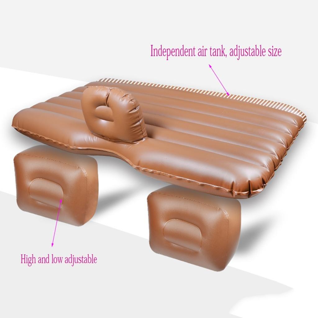 cuir marron   split file  MNII Air lit pour voiture Auto voiture gonflable Air Matelas Lit pour siège arrière de voitures SUV et moyennes camions Voyage en plein air 135  83cm- Convient pour le voyage