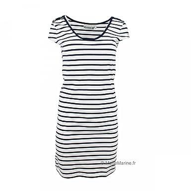 0915c153a6f Hublot Robe marinière Clotilde - Blanc Marine - Femme  Amazon.fr  Vêtements  et accessoires