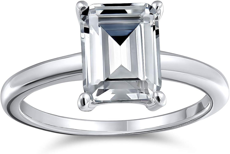 Bling Jewelry Rectángulo 2.5Ct AAA Corte Esmeralda Brillante CZ Solitario Anillo De Compromiso Banda Plata Esterlina 925 para Mujer