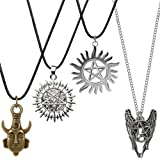 Supernatural Necklace, YGDZ 4 Pack Two-Sided Supernatural Merchandise Necklace Pendant