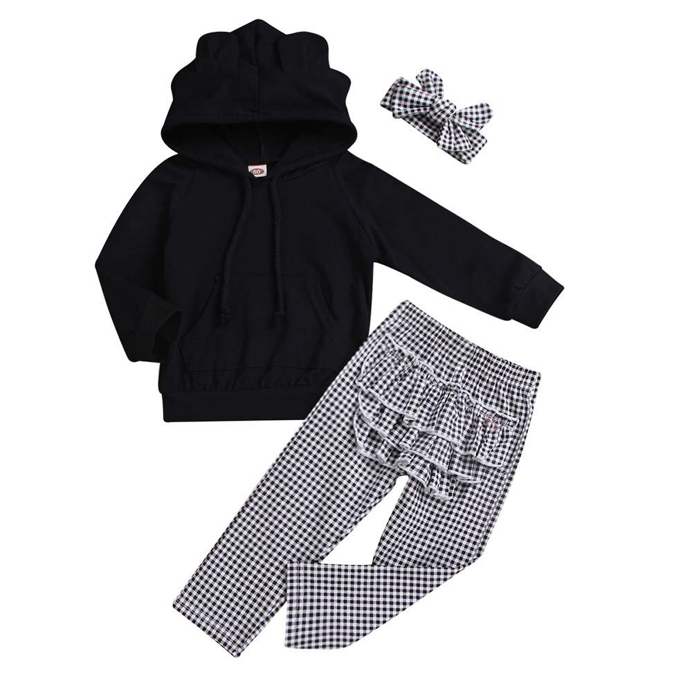 NUWFOR Toddler Baby Solid Ruffle Hoodie Tops+Plaid Pants+Headband Outfit Clothes (Black,12-18 Months