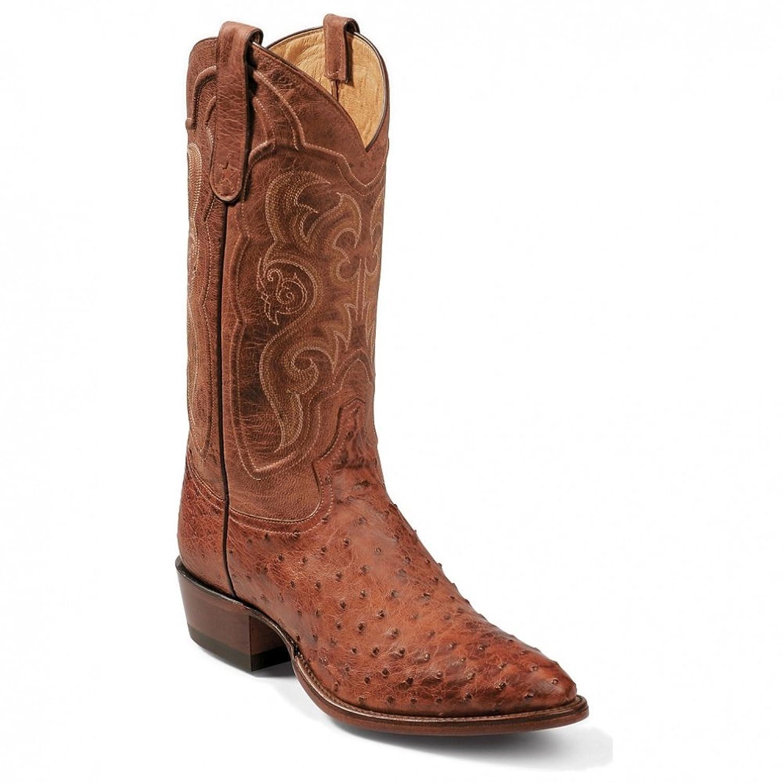 Tony Lama Men's Vintage Full Quill Ostrich Boot Medium Toe Cognac 7.5 EE US