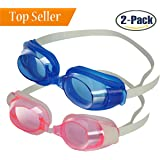 HoFire Kids Swim Goggles,2 Packs Swimming Glasses for Kids (Age 2-15 years old) with Clear Vision Anti Fog,UV Protection,No Leak, Soft Silicone Frame And Strap