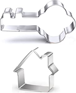 GXHUANG Key and House Sugar Cookie Cutters Set - Stainless Steel