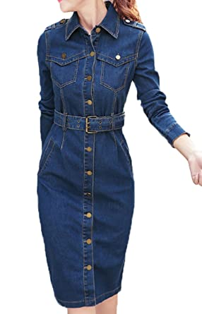 Scothen Damen Herbst Jeans Skirt Frauen Langarm Slim Denim Jeans