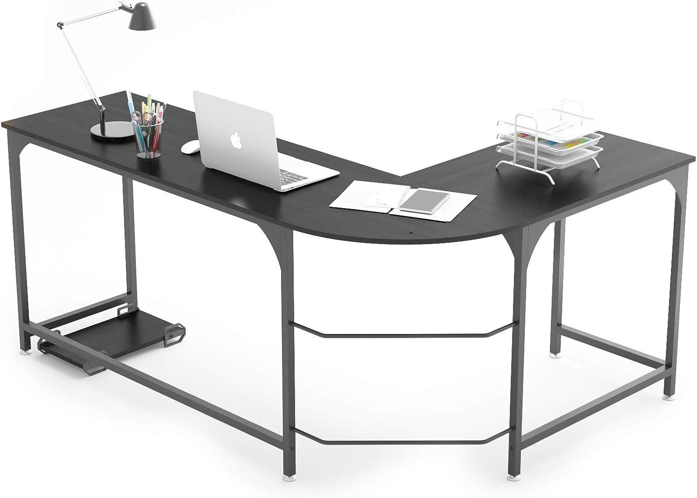 WeeHom Reversible L Shaped Desk Corner Gaming Computer Desks for Home Office PC Workstation Table,Black