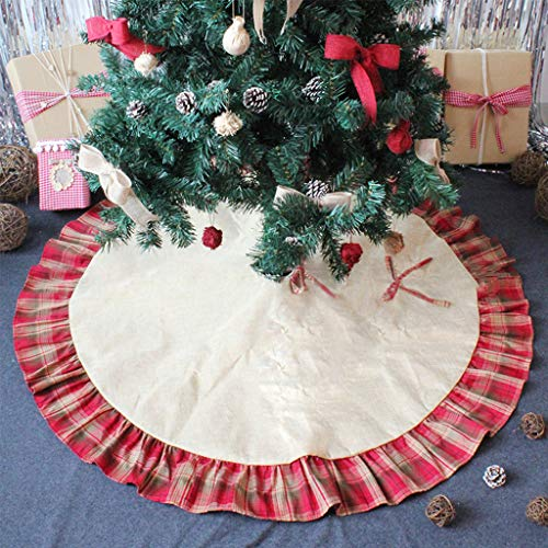 OWUDE 48 Inch Merry Christmas Tree Skirt, Base Cover Linen Burlap Xmas Tree Skirt with Plaid Ruffle Edge,Red and Black Pastoral Style Tree Skirt for Xmas Party Holiday Home Decoration from OWUDE