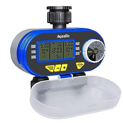 Aqualin Timer Per Irrigazione Elettronico A Due Uscite Con 2 Elettrovalvole Regolatore Di Irrigazione Per Giardino